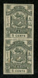 North Borneo SC# 40 Coat of Arms imperf pair 5c MH/MNH