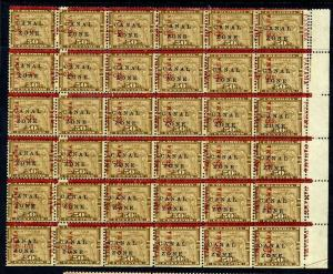 Canal Zone 20 Block of 36 Stamps w/Progressive Overprint Shift with PF Cert!