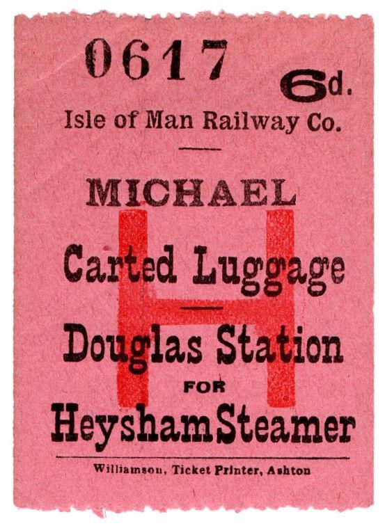 (I.B) Isle of Man Railway : Carted Luggage 6d (Heysham Steamer)