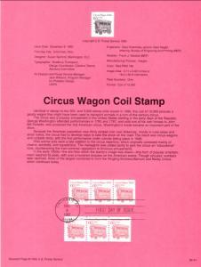 US SP880A Circus Wagon 2452B Souvenir Page FDC
