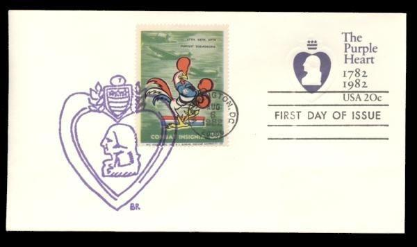 67th, 68th, 69th Pursuit Sqadrons Poster Stamp on Purple Heart #U603 FDC