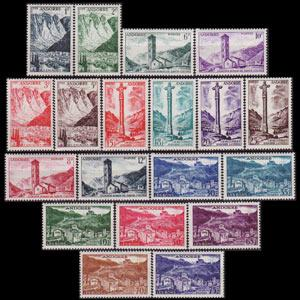 ANDORRA FR. 1955 - Scott# 124-42 Scenic Set of 19 LH