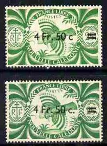 New Caledonia 1945 4f50 on 25c green Kagu two examples wi...