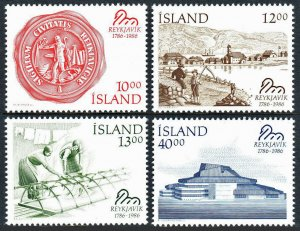 Iceland 628-631,MNH.Reykjavik Bicent.City seal,View from Bank,City Theater,1986