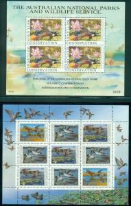 FOREIGN DUCK STAMPS, MINI SHEET OF 9, SHEETLET OF 4, & 6 SINGLES FROM 1990'S