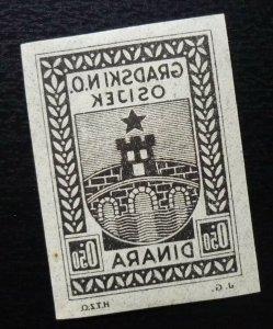 Croatia OSIJEK Yugoslavia PROOF Local Revenue Stamp 0.50 Dinara  C4