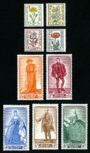 Belgium Stamps # B468-76 F-VF OG LH Set of 9 Scott Value $71.45