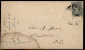 CSA #12 Darlington CH SC Civil War Confederate Cover 92702