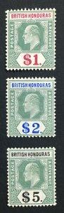 MOMEN: HONDURAS SG #91-93 1904-1907 MINT OG H LOT #61127