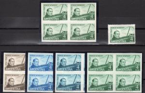 Argentina 1964 Sc#759 JORGE NEWBERY AVIATION Blocks of 4 Color Proofs + Original