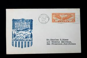 US First Flight Cover WINSLOW ARIZONA SEP 5 1937 AM 37 With Sc# C19