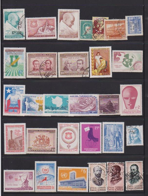 LOT OF DIFFERENT STAMPS OFCHILI USED (30 LOT#129