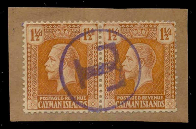Cayman Islands 1921 1 1/2d with 'T' Postage Due Strike in Violet on Piece