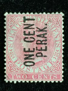 MALAYA 1884 Perak opt Straits Settlements QV 2c with stop fine used SG#26 M3337