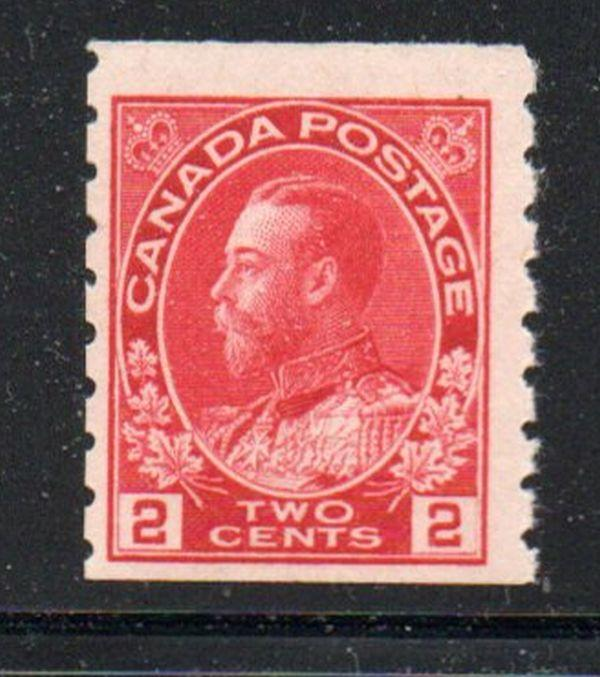 Canada Sc 127  USC127ii 1912 2c rose red  G V Admiral coil stamp mint