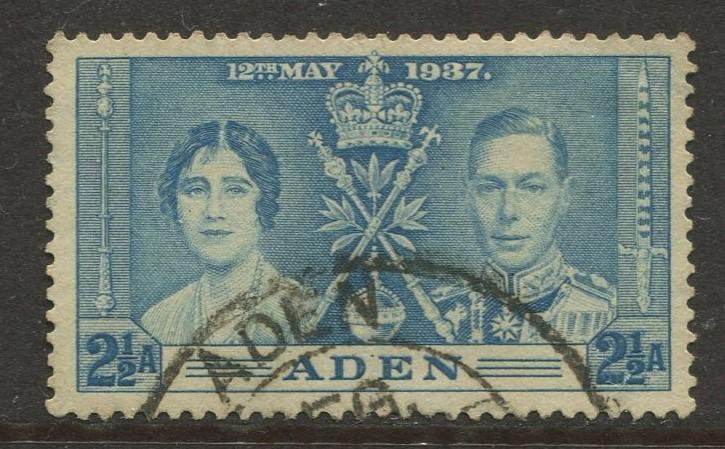 ADEN - Scott 14 - Coronation Issue - 1937- Used - Single 2.1/2a Stamp