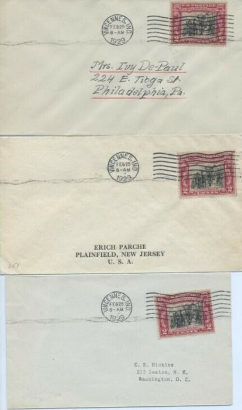 651 2c GEORGE ROGERS CLARK - Lot of 3 FDC's
