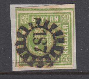 Bavaria Sc 6 used. 1850-58 9kr yellow green Numeral, 187 closed Millwheel cancel