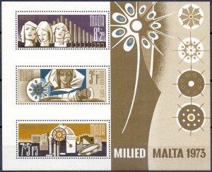 Malta. 1973. 478-80 bl3. Christmas NG. MNH.