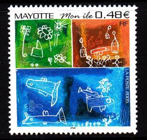 Mayotte MNH Scott #216 48c 'Mon Ile' Stick Figure Drawings by Children