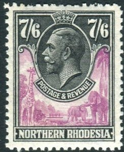 NORTHERN RHODESIA-1925-9 7/6 Rose-Purple & Black.  A lightly mounted mint Sg 15