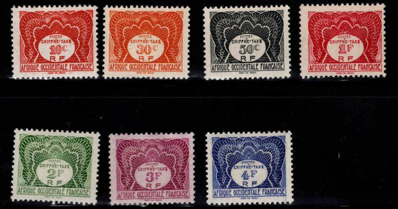 French West Africa Scott J1-7 MH*  postage due short set 7/10