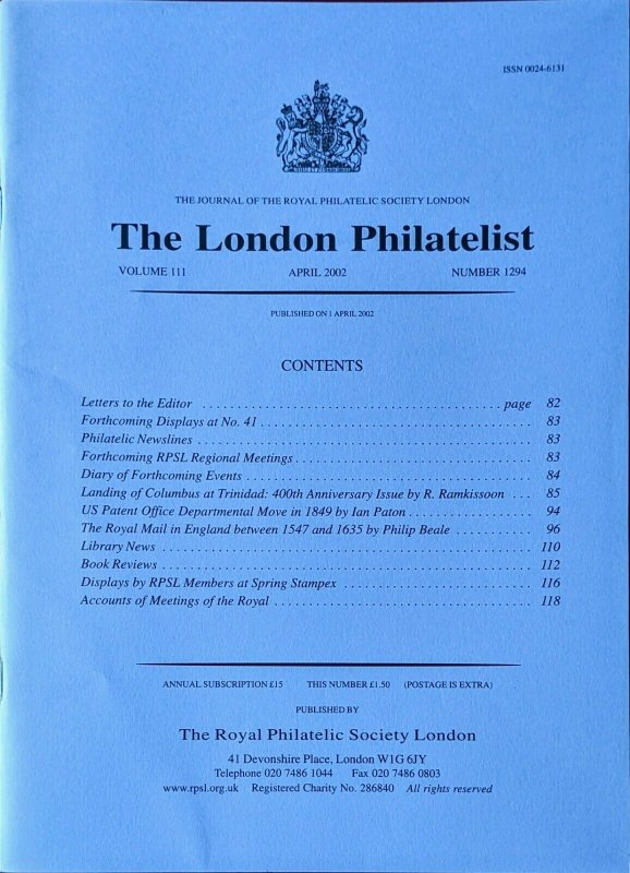 THE ROYAL MAIL IN ENGLAND BETWEEN 1547 and 1635 Royal Messengers Postal History