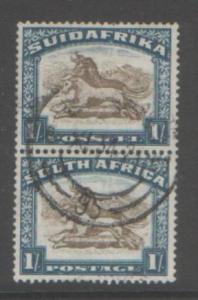 SOUTH AFRICA 1932 1/-VERT PAIR SG48 USED CAT£20