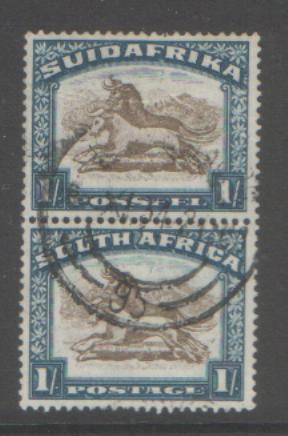 SOUTH AFRICA 1932 1/-VERT PAIR SG48 USED CAT£20