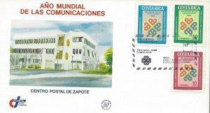 Costa Rica World Communications Year Sc 276-278 FDC 1983