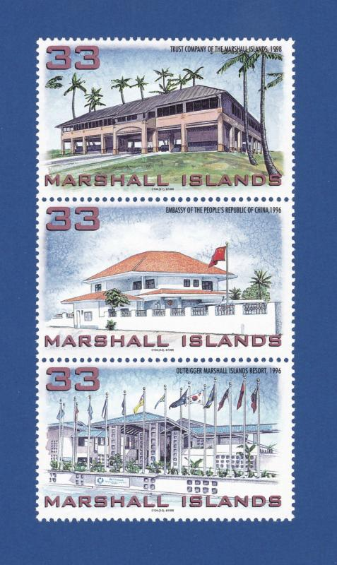MARSHALL ISLANDS 1998 COMPLETE MINT SET OF 3, NEW BUILDINGS IN SC #669