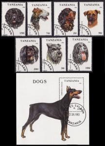Tanzania Dogs 7v+MS CTO SG#1681-MS1688 SC#1144-1151 CV£4.95