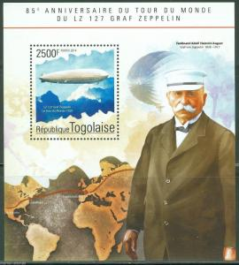 TOGO 2014 85th ANIVERSARY OF  WORLD FLIGHT OF THE GRAF ZEPPELIN S/S MINT