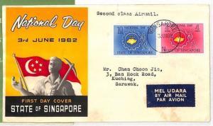 WW186 1962 *SINGAPORE* Sarawak FDC Airmail {samwells-covers}PTS
