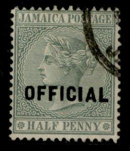 JAMAICA SG O3, ½d green, FINE USED.