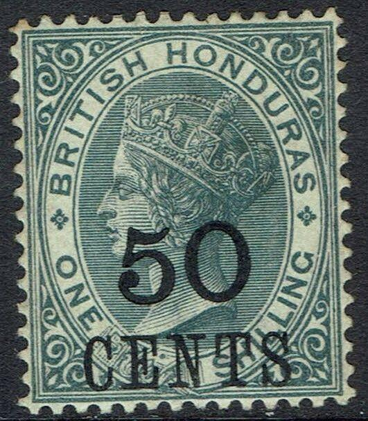 BRITISH HONDURAS 1888 QV LARGE 50 CENTS ON 1/-