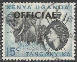 TANGANYIKA  1959 Sc O3 15c Used VF  Official stamp, Elephant