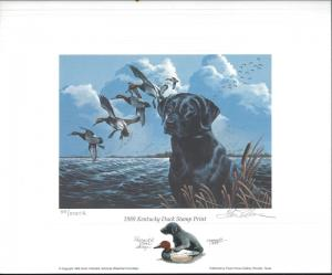KENTUCKY #5 1989  STATE DUCK STAMP PRINT BLACK LAB by Philip Crowe Color Remark