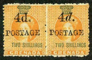 GRENADA SG41/a 4d on 2s orange 4mm space PAIR L/H Stamp Variety Upright d RARE