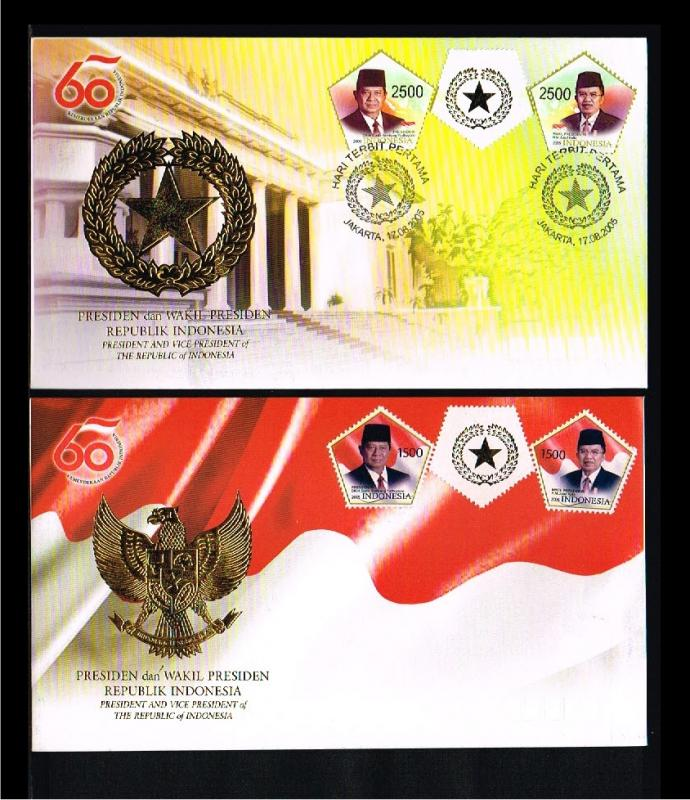 2005 - Indonesia FDC 07/05 - Famous People - Presidents - and Vice-President ...