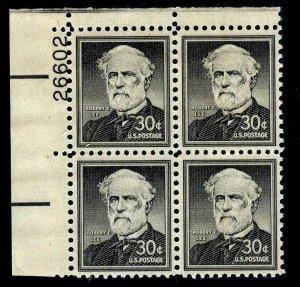 PLATE BLOCK - #1049 30c Robert E Lee (Liberty Series)....VF og NH - start@99c