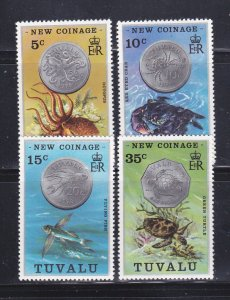 Tuvalu 19-22 Set MNH Coins On Stamps (A)
