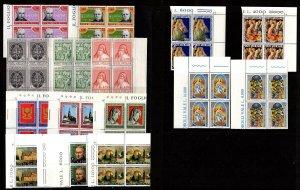 Vatican 526-533, 585-589, 615-616 Corner Blocks Mint, og, Never Hinged