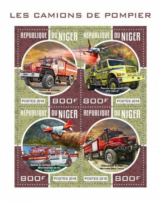 HERRICKSTAMP NEW ISSUES NIGER Fire Engines Sheetlet