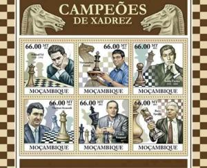 Mozambique - Chess Champions - 6 Stamp  Sheet 13A-783