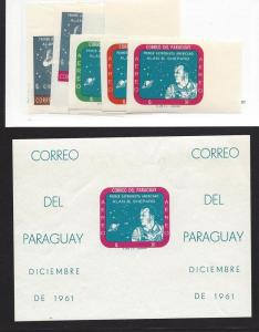 Paraguay, 610-616a, Space Imperf Singles & S/S(1), **MNH**