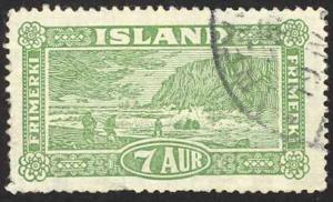 Iceland Sc# 144 Used 1925 7a yel green Landing the Mail