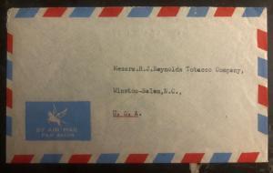 1952 Goa Portuguese India Airmail Cover To Reynolds Tobacco Salem NC USA