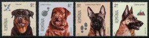 HERRICKSTAMP NEW ISSUES ROMANIA Sc.# 5729-32 Dogs 2015 (Rottweiler, Shepard)