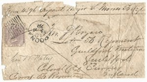 British India May 4, 1872 Cover - 56th Regiment of the Foot, Poona to England